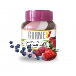 Gurmex Triple-Kakaový krém s lískovými ořechy a jahodamí 350g