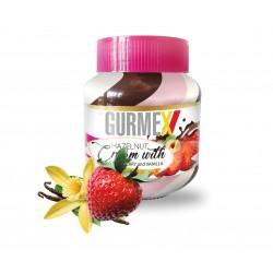 Gurmex Triple-Kakaový krém s lískovými ořechy jahodami a vanilkou 350g