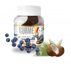 Gurmex Triple- Kakaový krém s lískovými ořechy boruvkami a kokosem350g